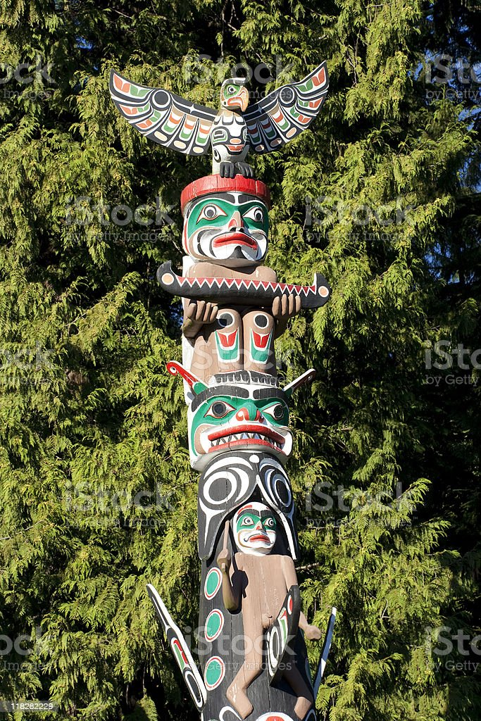 Part of Totem Pole in Stanley Park royalty-free stock photo