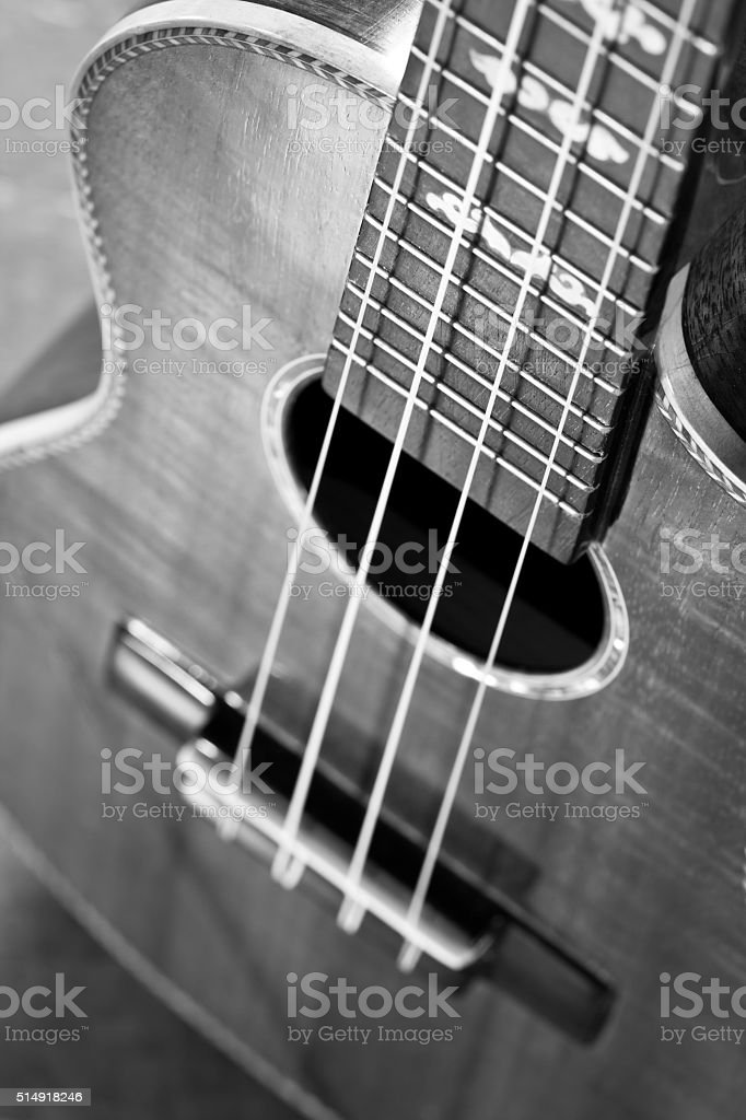 part of traditional acoustic guitar stock photo