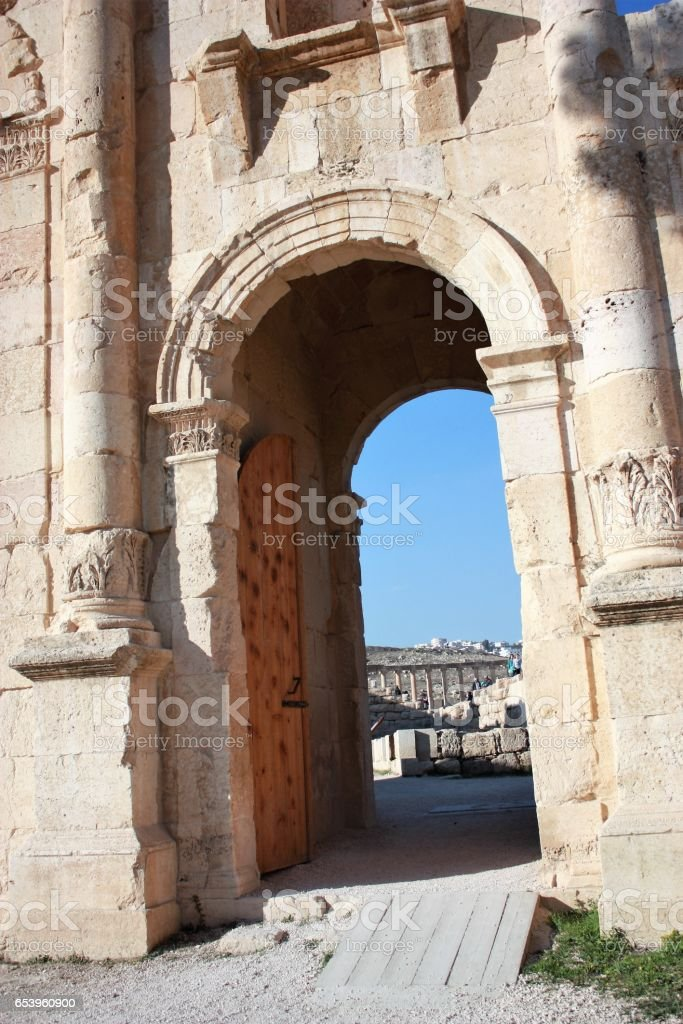 Part of Triumphal Arch in Jerash in Jordan, Middle East stock photo