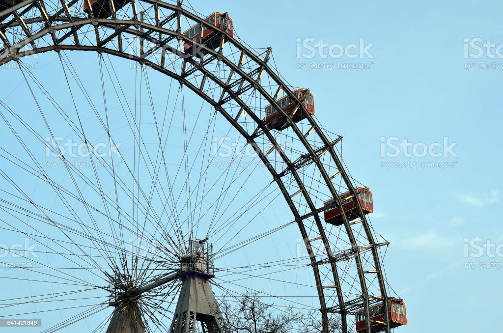 part of Vienna giant wheel illuminated in winter christmas stock photo