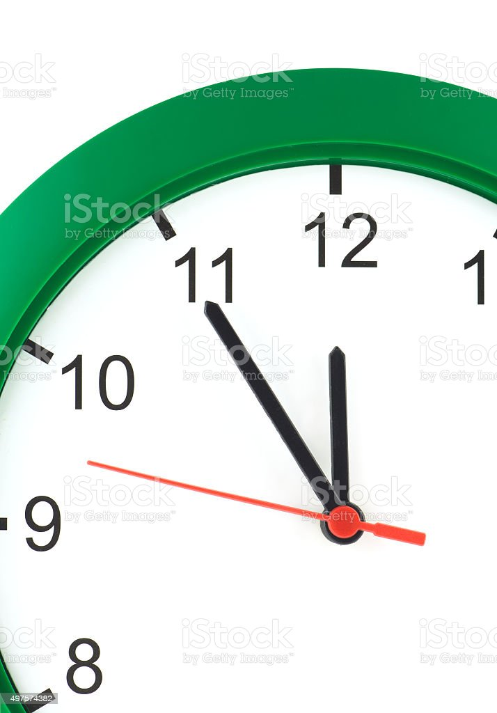 Part of wall clock isolated on white closeup stock photo