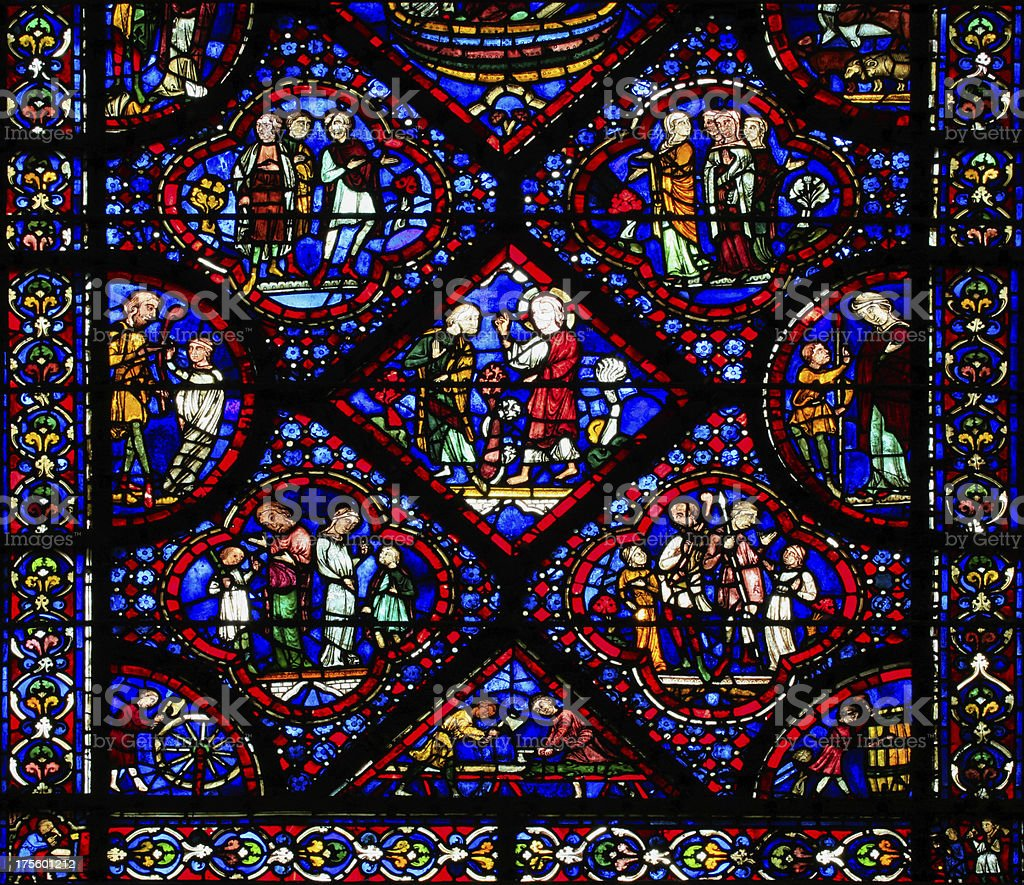 'Part of window Noah at the Cathedral Notre Dame, Chartres' stock photo