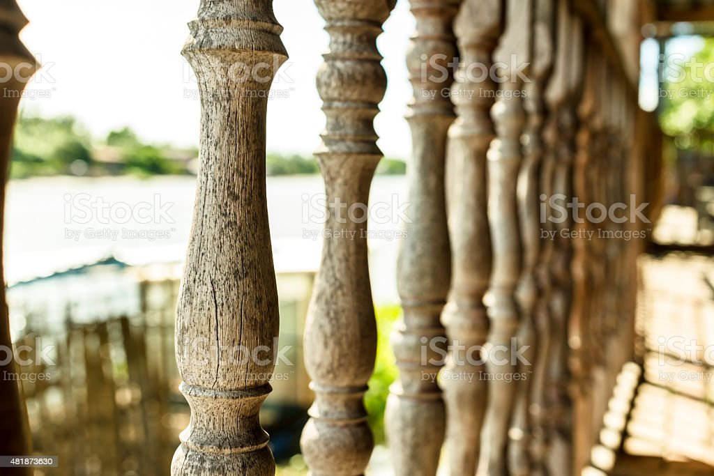 Part of Wood carving terrace royalty-free stock photo