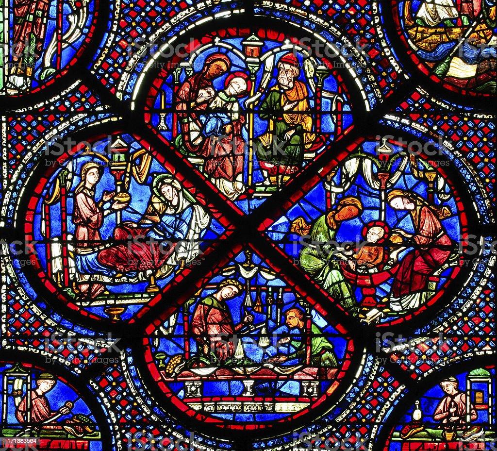 Part one of window Saint-Nicholas, Cathedral Notre Dame de Chartres stock photo