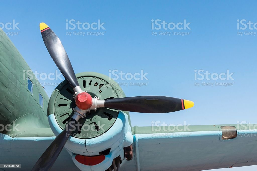 part plane with the big propeller stock photo