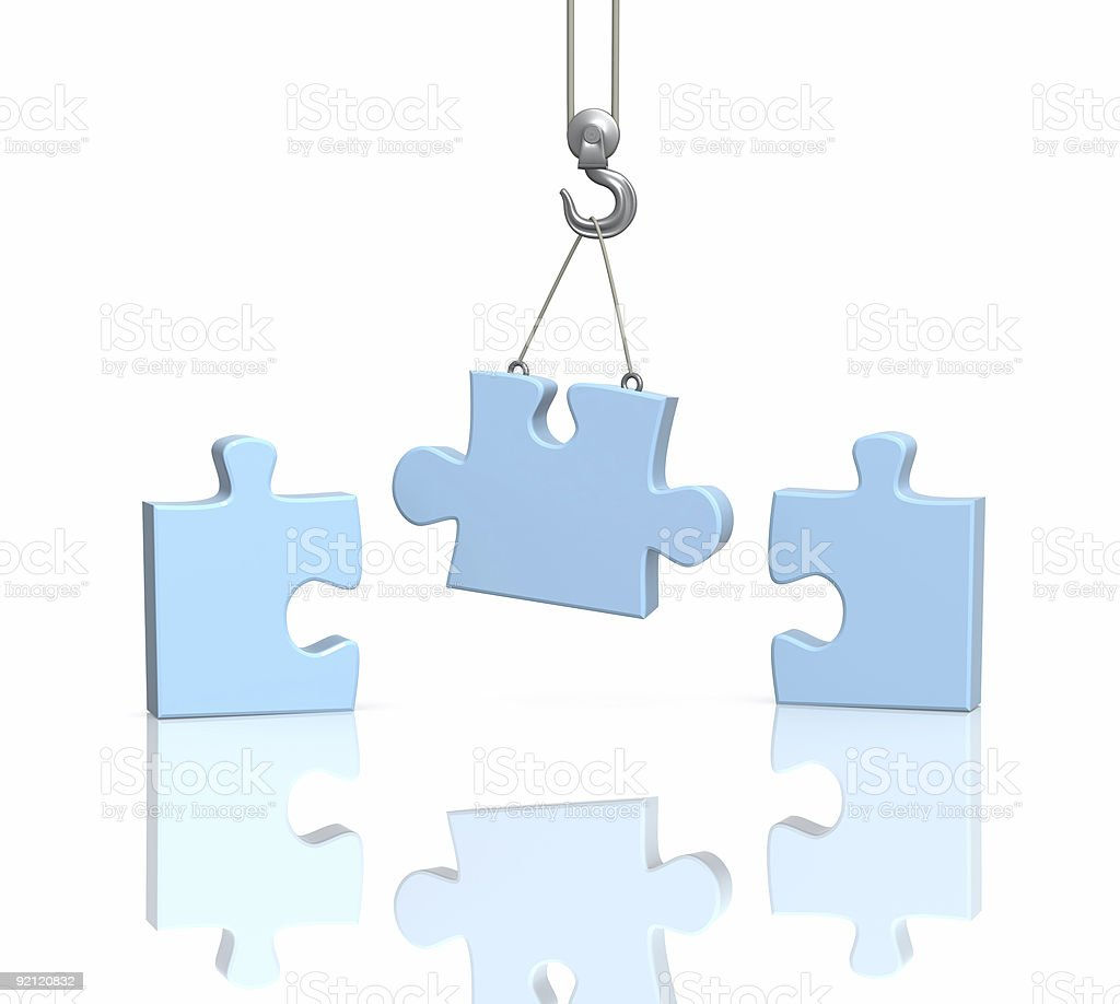 Part puzzle on hook elevating crane royalty-free stock photo