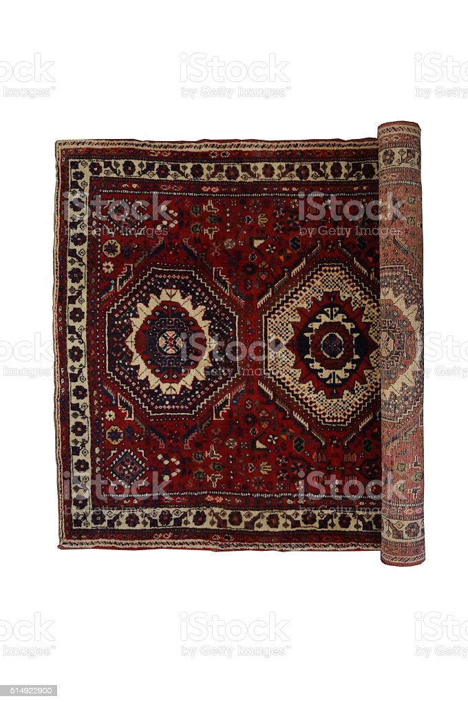 Part rolled oriental rug stock photo