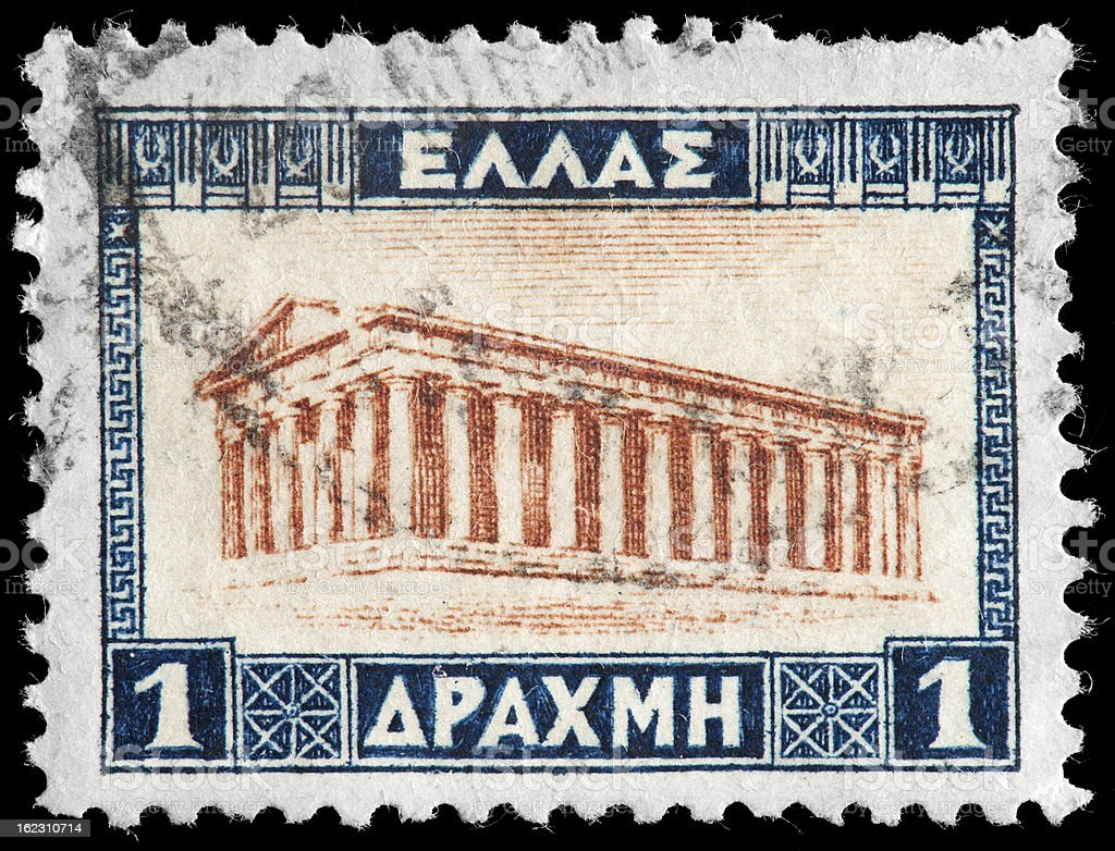 Partenon on Greek Vintage Postage Stamp stock photo