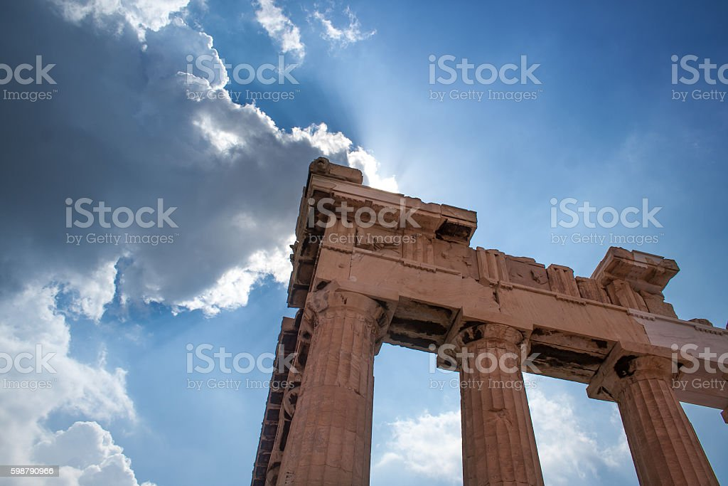 Parthenon Against The Sun stock photo