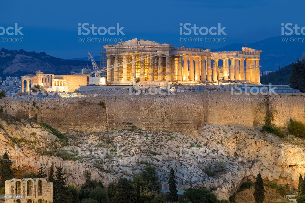 Parthenon and Herodium construction in Acropolis Hill in Athens, stock photo