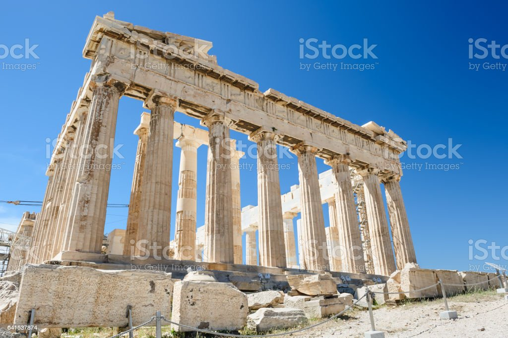 Parthenon columns at sky background stock photo