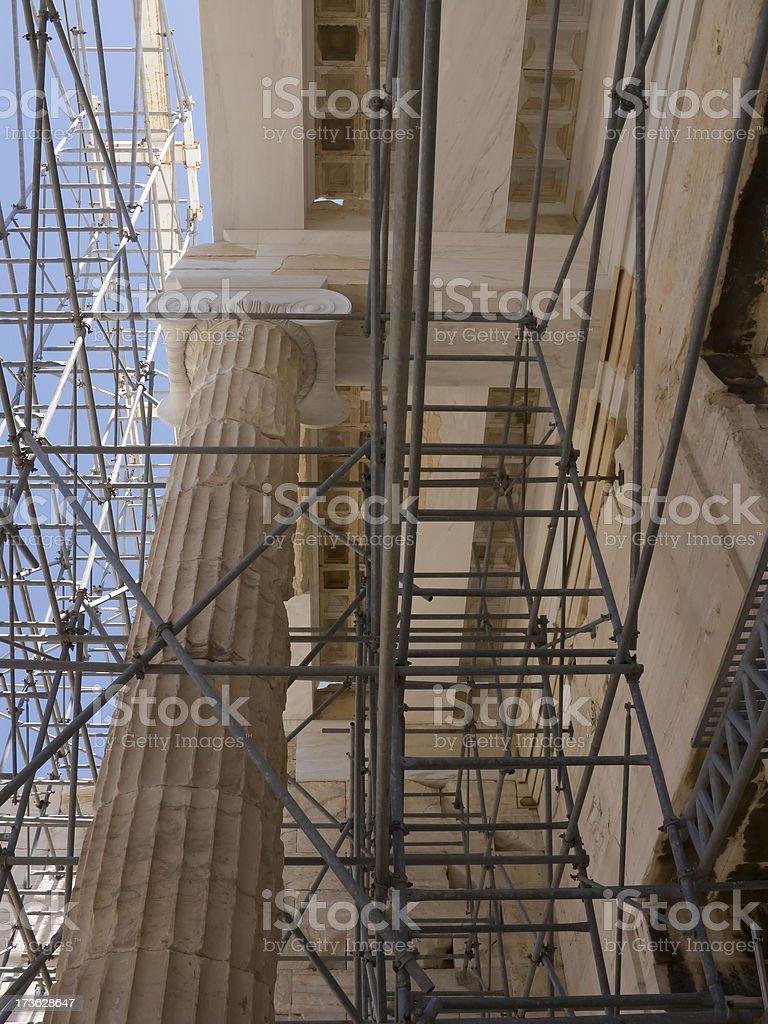 Parthenon Columns Low Angle Many Scaffolds stock photo