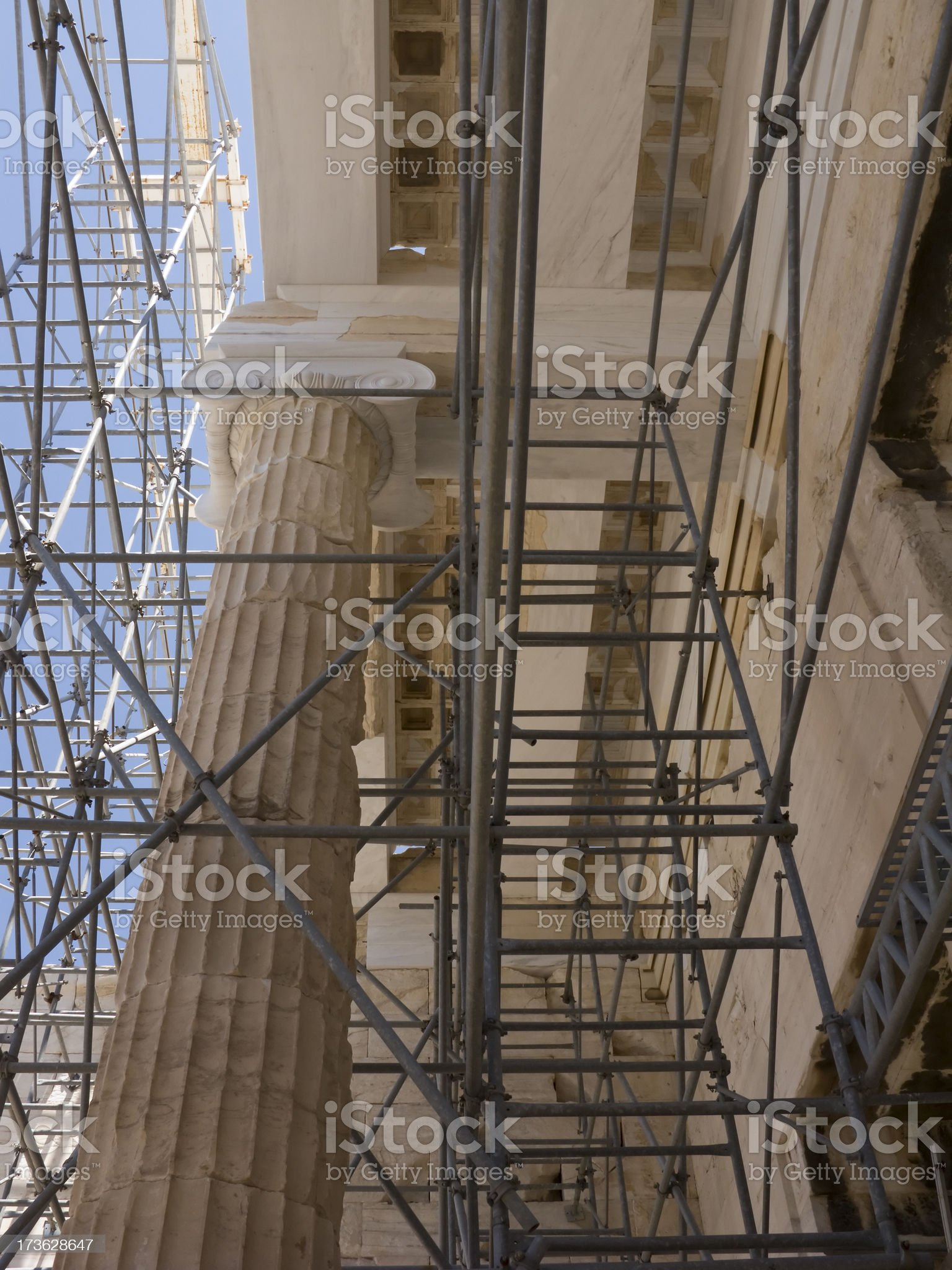 Parthenon Columns Low Angle Many Scaffolds royalty-free stock photo
