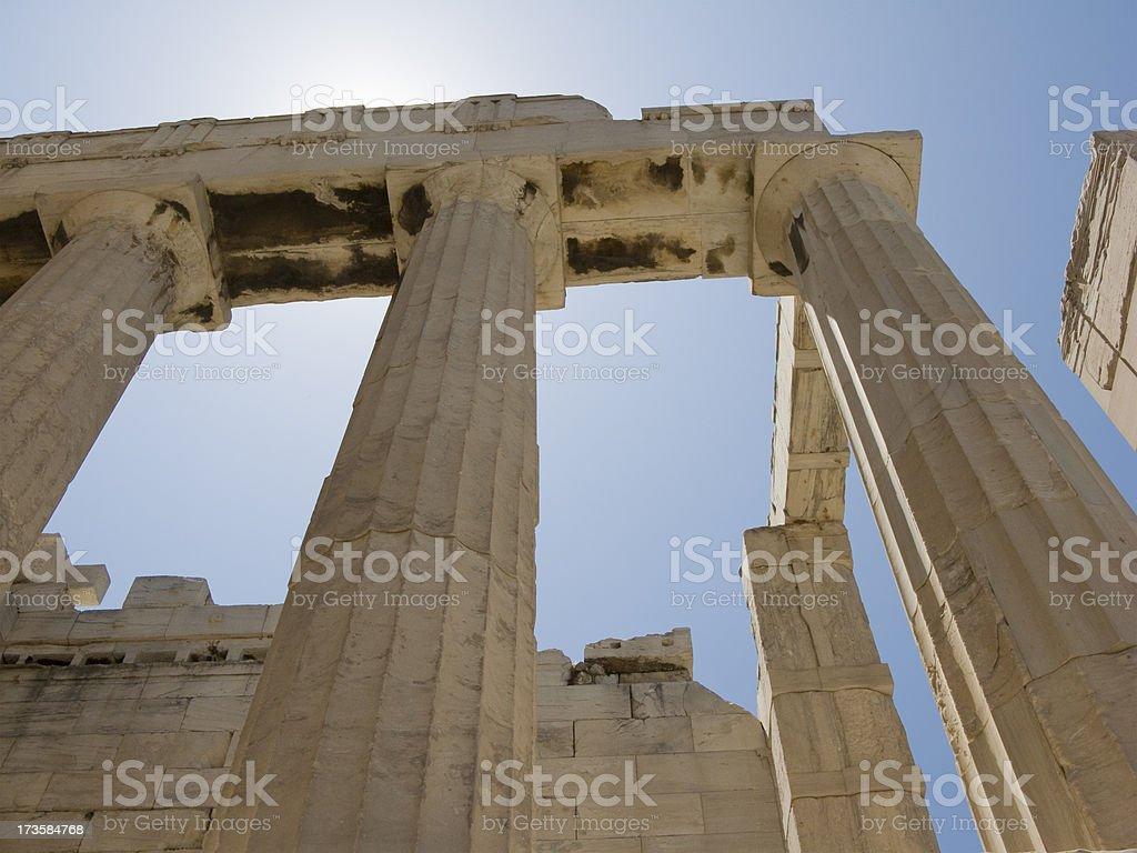 Parthenon Columns Low Angle stock photo