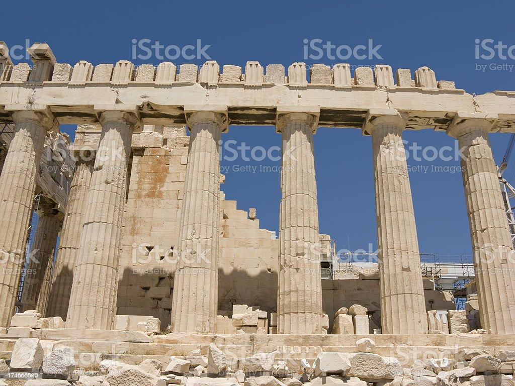 Parthenon Columns Row of Six stock photo