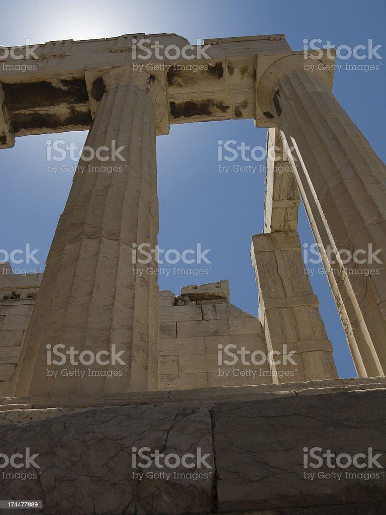 Parthenon Columns XLow Angle Backlit stock photo