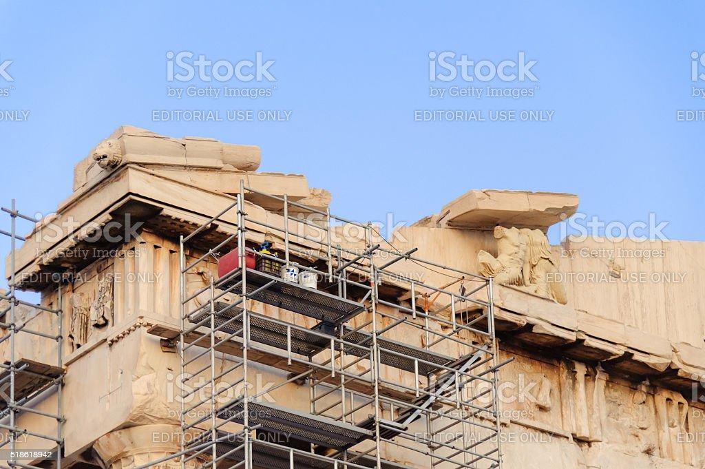 Parthenon conservation scaffolding stock photo