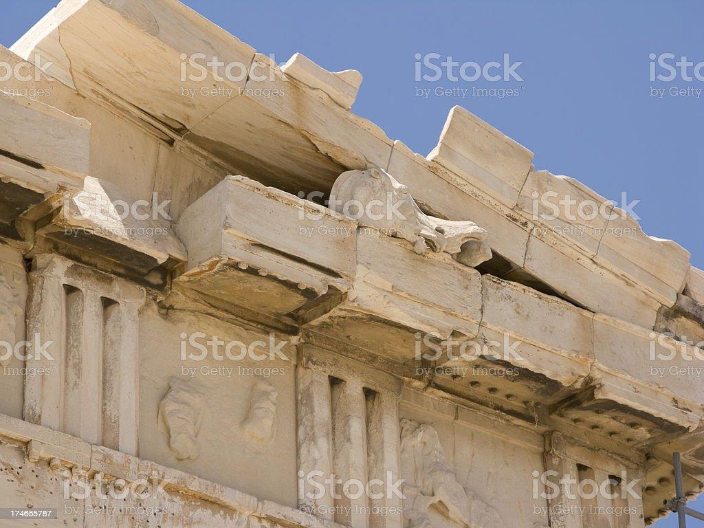 Parthenon Detail Horse's Head West Pediment stock photo