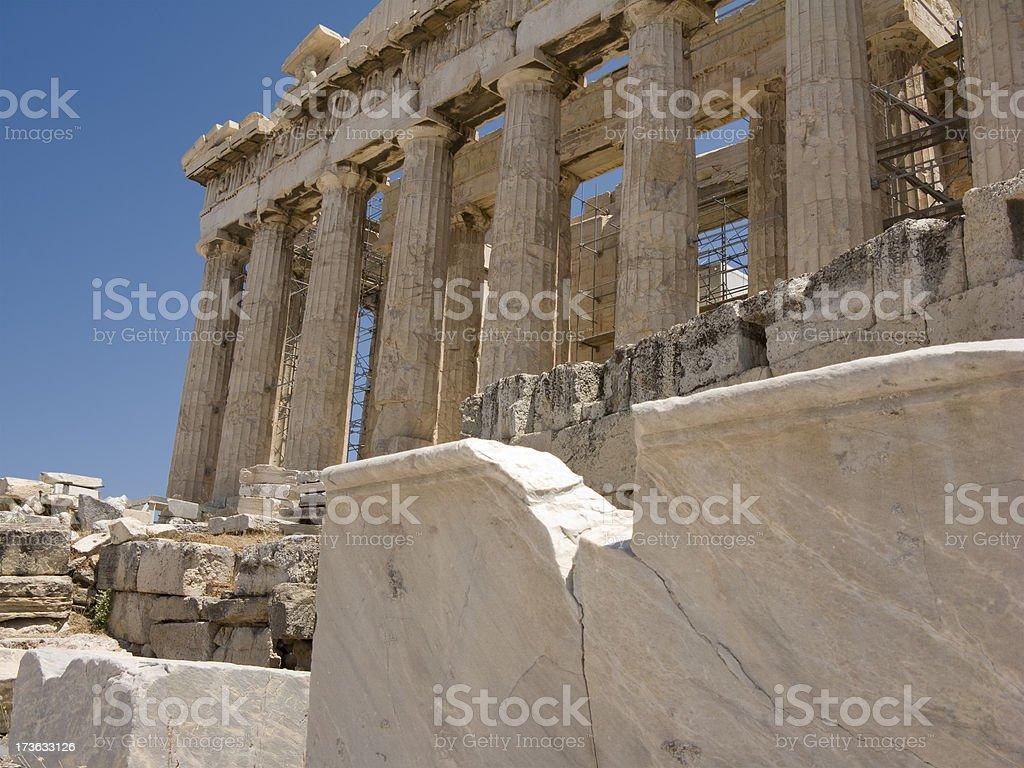 Parthenon Facade with FG Marble Block for Copy stock photo