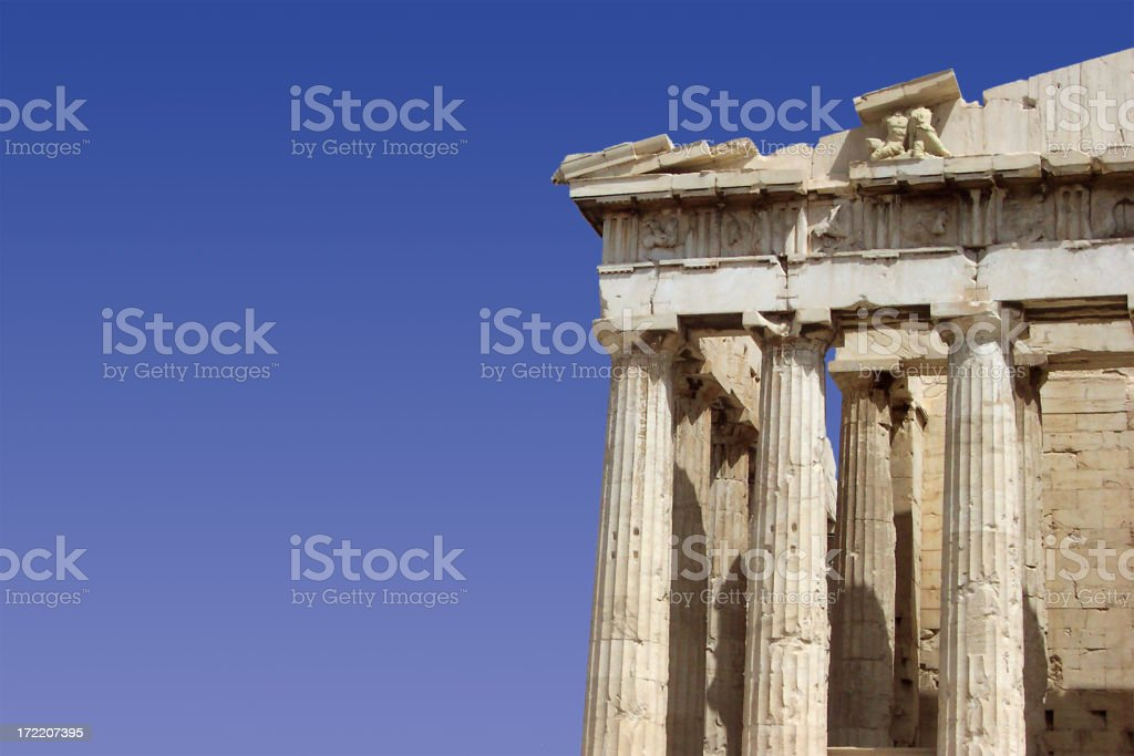 Parthenon face with sky royalty-free stock photo