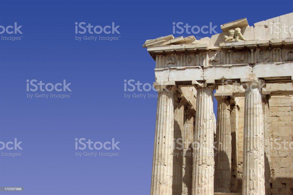 Parthenon face with sky stock photo