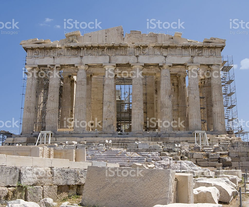 Parthenon Full Front Facade stock photo