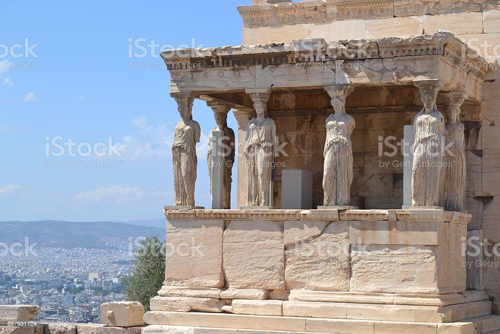 Parthenon Porch of the Maidens stock photo