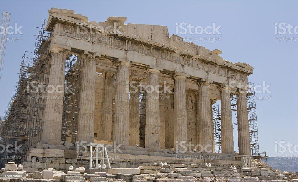 Parthenon Restoration Low Angle View stock photo