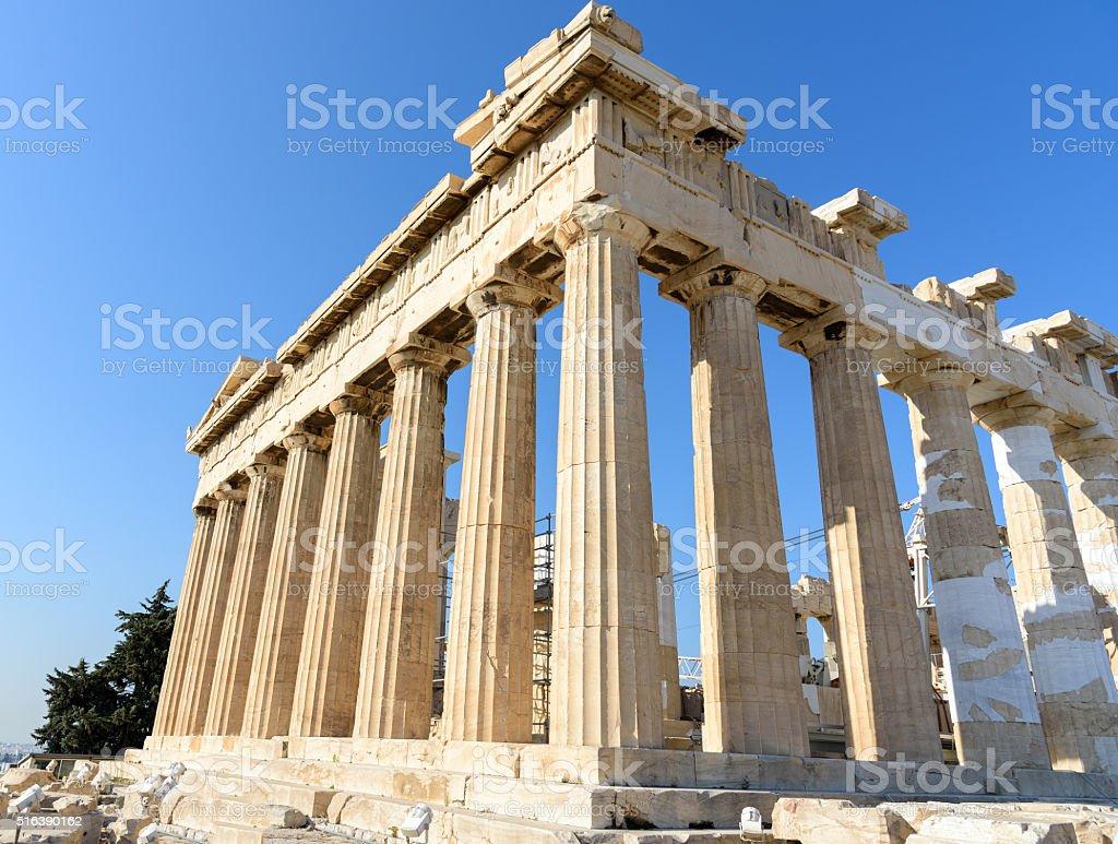 Parthenon temple at the Acropolis in Athens, Greece stock photo