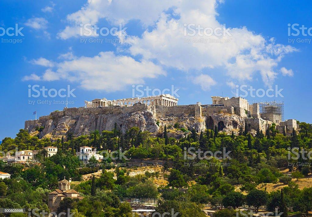 Parthenon temple in Acropolis at Athens, Greece stock photo