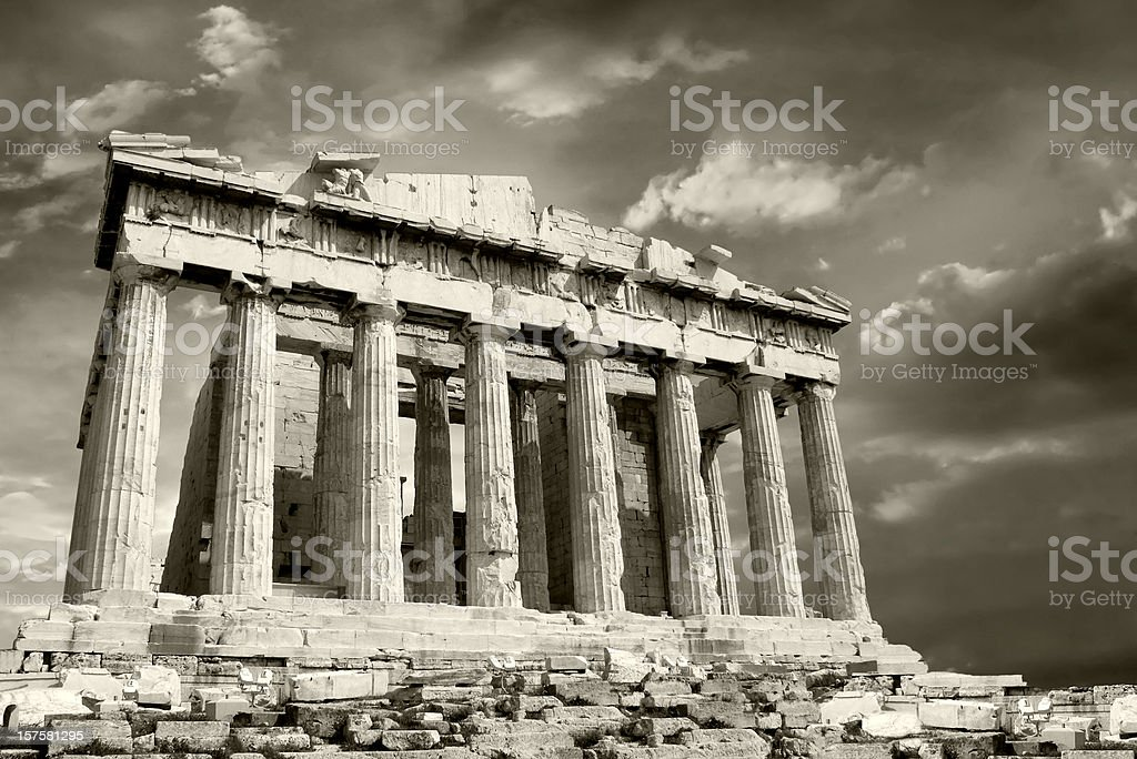 Parthenon with moody sky royalty-free stock photo