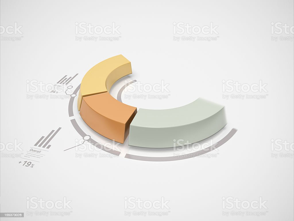Partial 3d donut chart in motion royalty-free stock photo