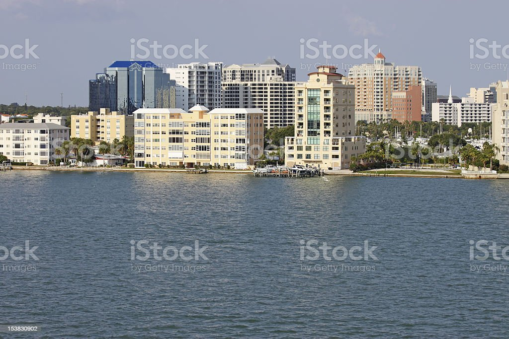 Partial skyline of Sarasota, Florida, viewed from the water stock photo