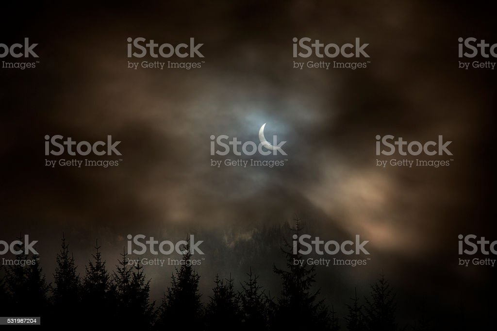 Partial Solar Eclipse - Astronomical Event stock photo
