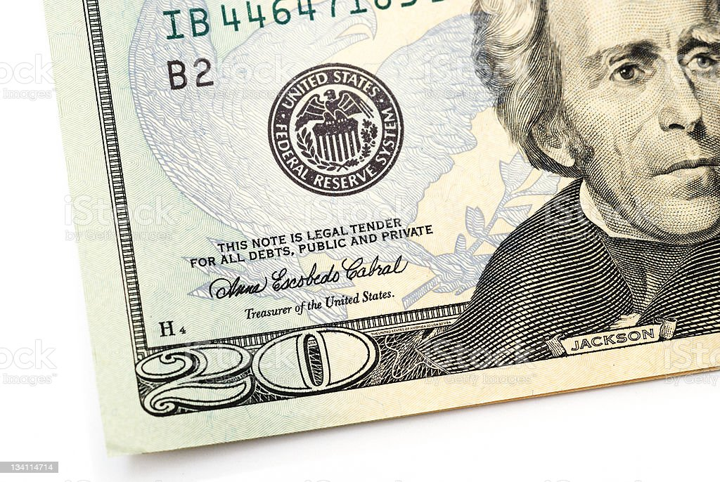 Partial twenty dollar bill stock photo