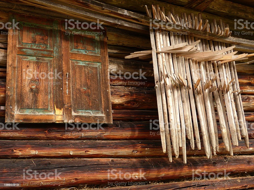 Partial view of an old hut in Austria stock photo