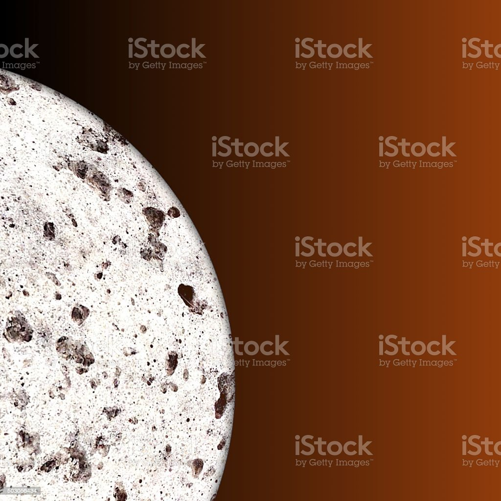 Partial view of barren rocky moon with craters in space stock photo