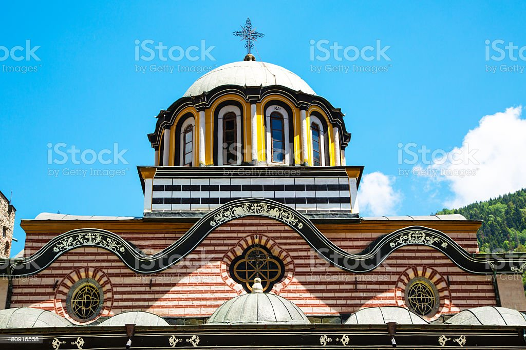 Partial view of church in famous Rila Monastery, Bulgaria stock photo