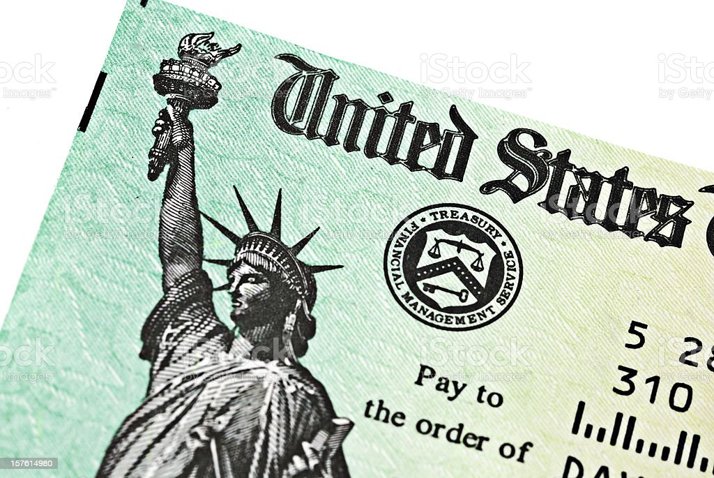 Partial view of US Treasury IRS refund check stock photo