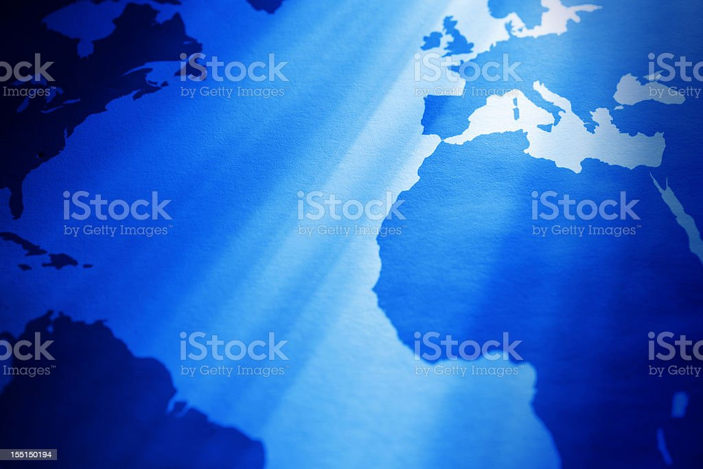 Partial world map view: Atlantic ocean stock photo