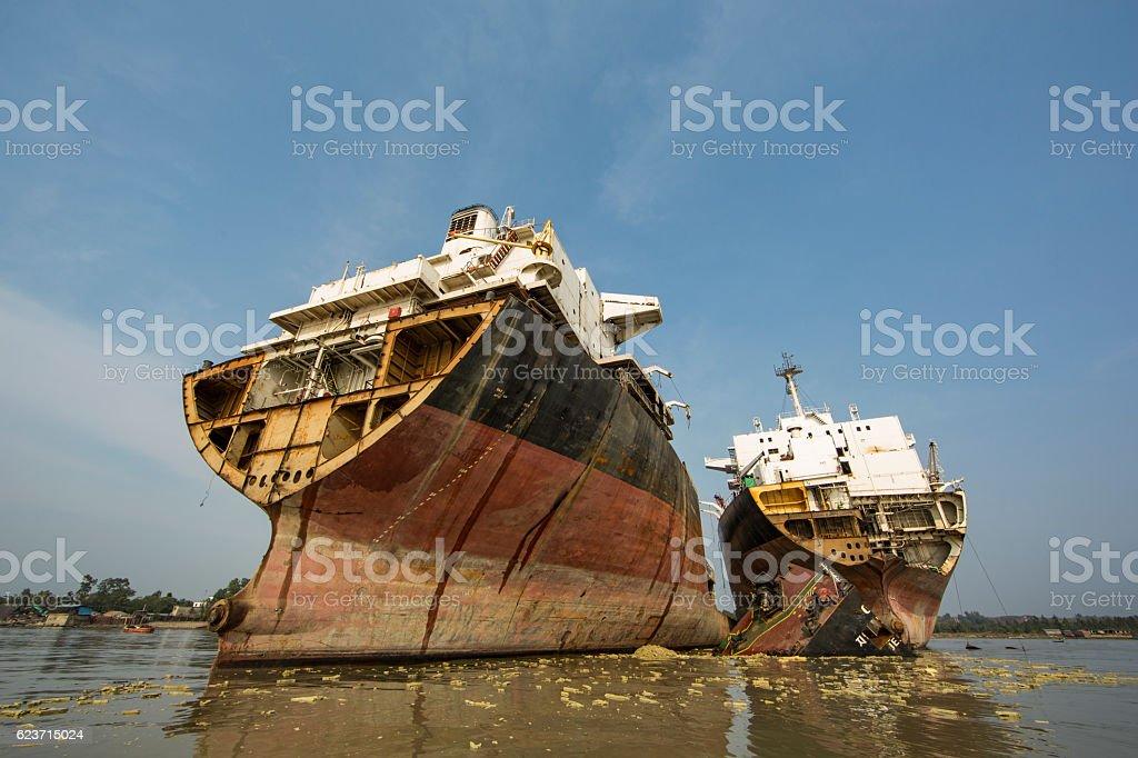 Partially broken ship in a yard in Chittagong, Bangladesh stock photo