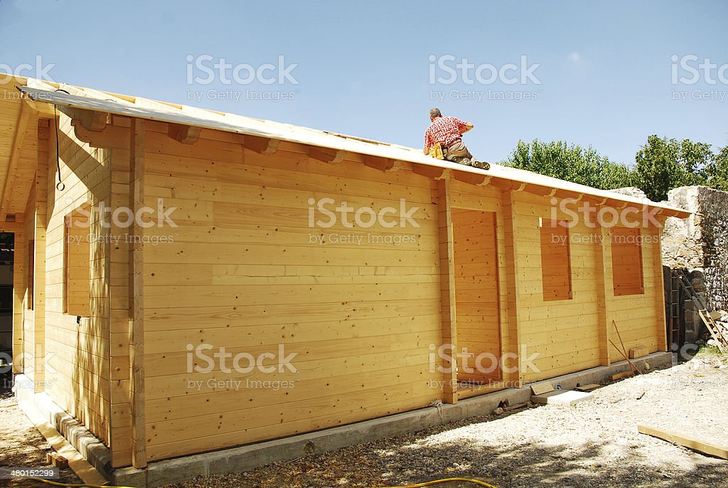 Partially Constructed Wooden House stock photo