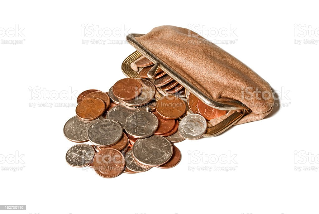 Partially Opened Coin Purse With Coins Spilling Out royalty-free stock photo
