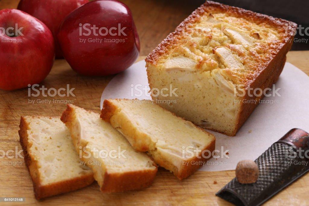 Partially Sliced Buttermilk Apple Bread stock photo