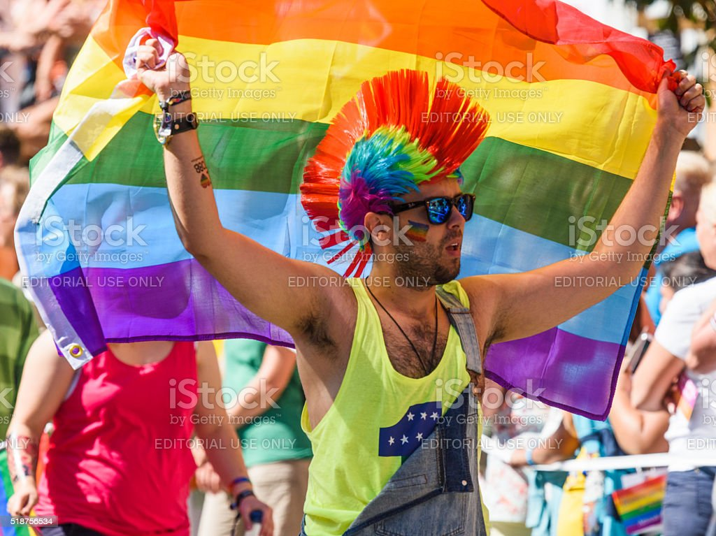 participant in Stockholm Pride Parade 2015 stock photo