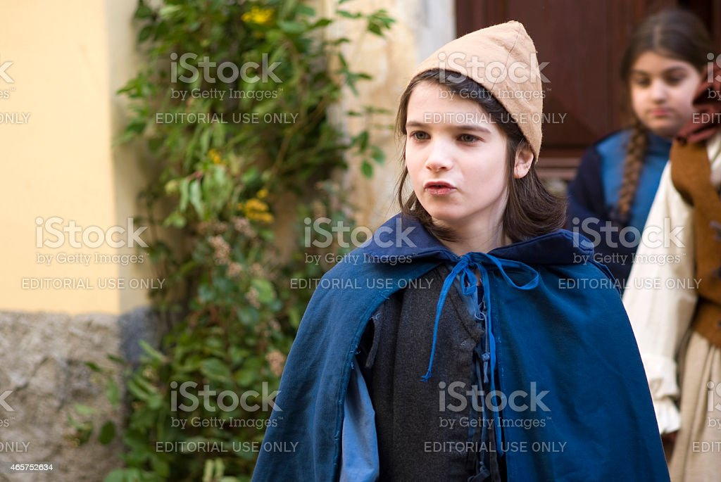 Participant of medieval costume party stock photo
