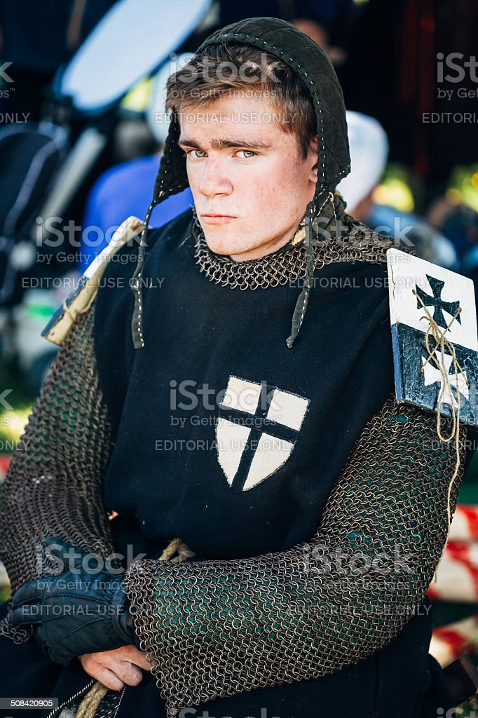 Participant of VI festival of medieval culture 'Our Grunwald' stock photo