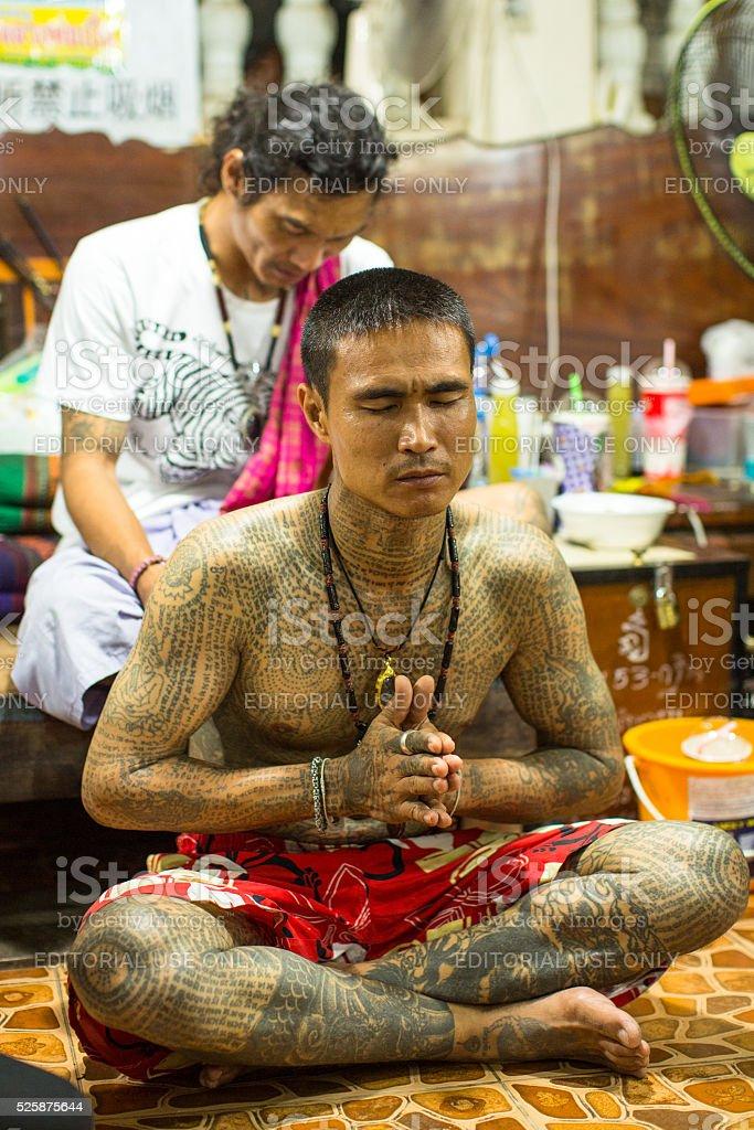 Participant Wai Kroo (Luang Por Phern) Master Day Ceremony stock photo