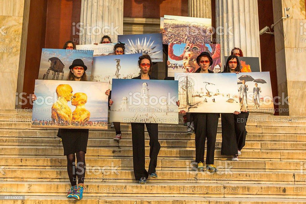 Participants actions of contemporary art - Burning Man Walking Photo stock photo