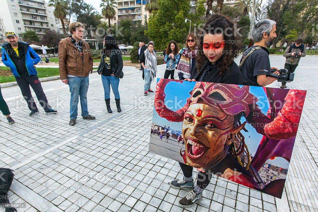 Participants actions of contemporary art - Burning Man Walking stock photo